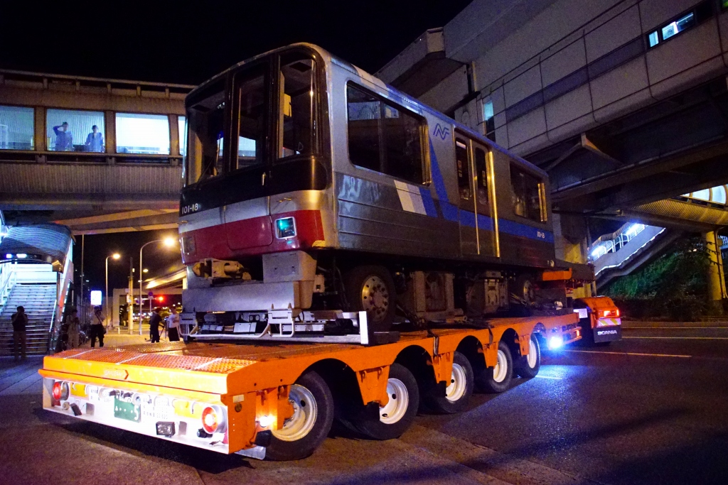 【ニュートラム】100A系(100-18F)、初の廃車陸送へ