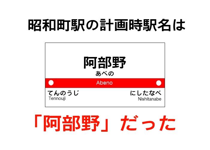 【コラム】昭和町駅の計画時駅名は「阿部野」だった