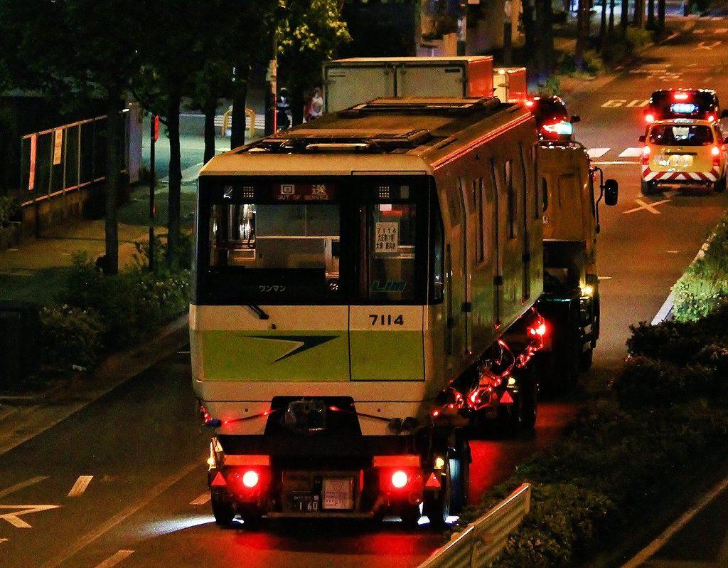 【長堀鶴見緑地線】7114F(70系14編成)、後期車初の陸送搬出へ