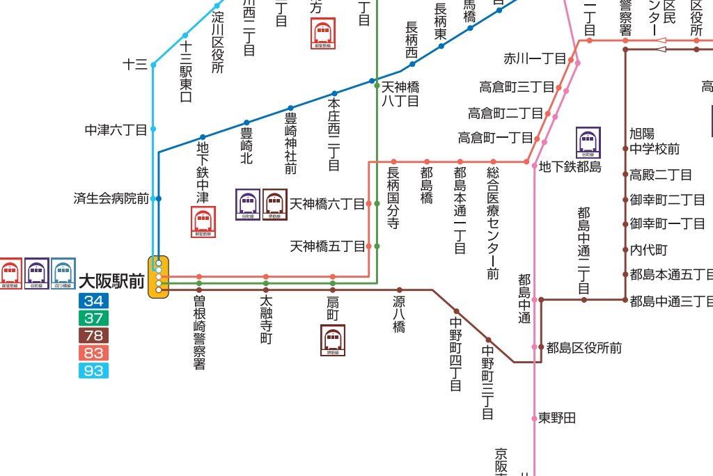【大阪市バス】路線図から「マルコマーク」が消える