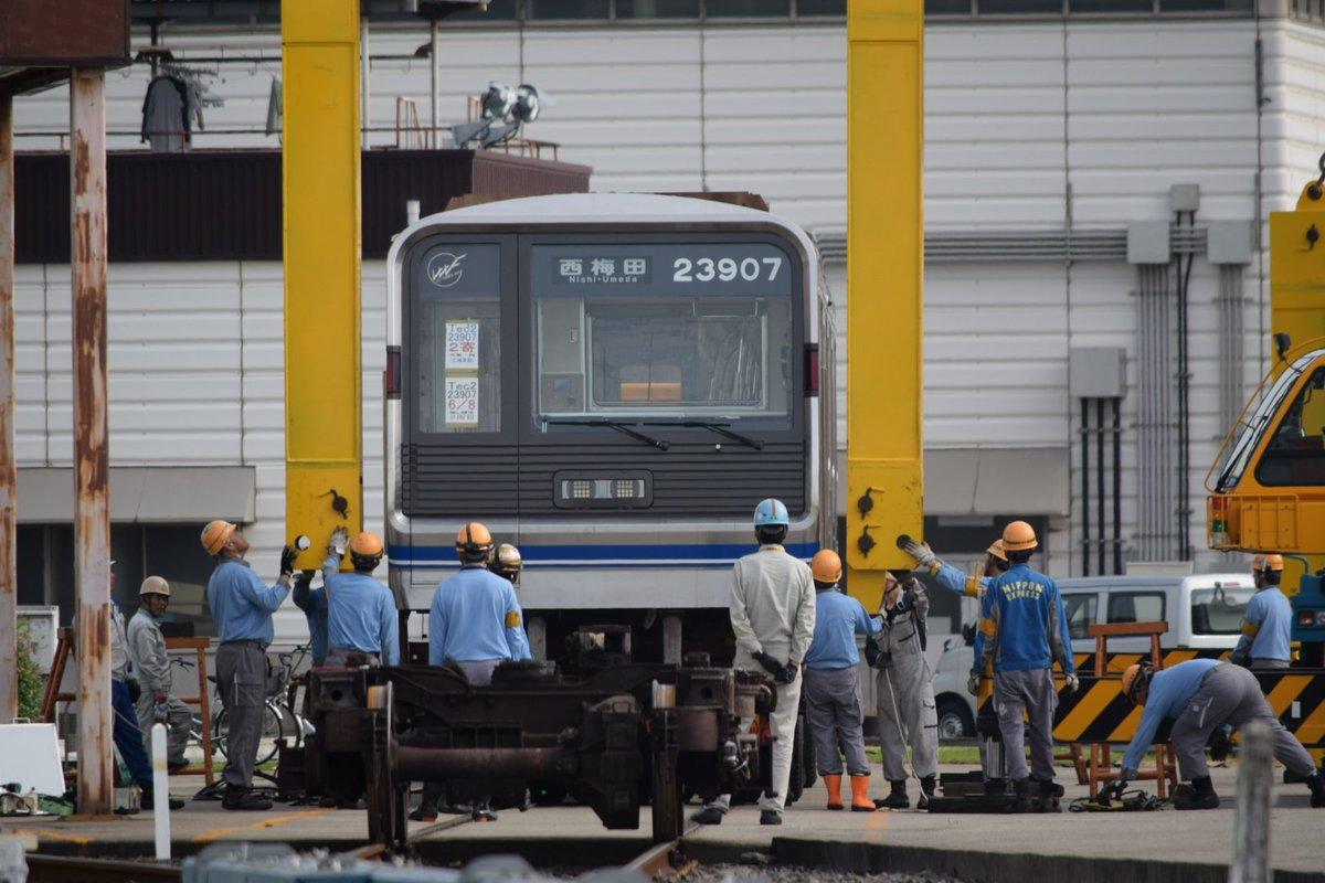 【四つ橋線】23907F(23系07編成)がリニューアルされ陸送搬入!