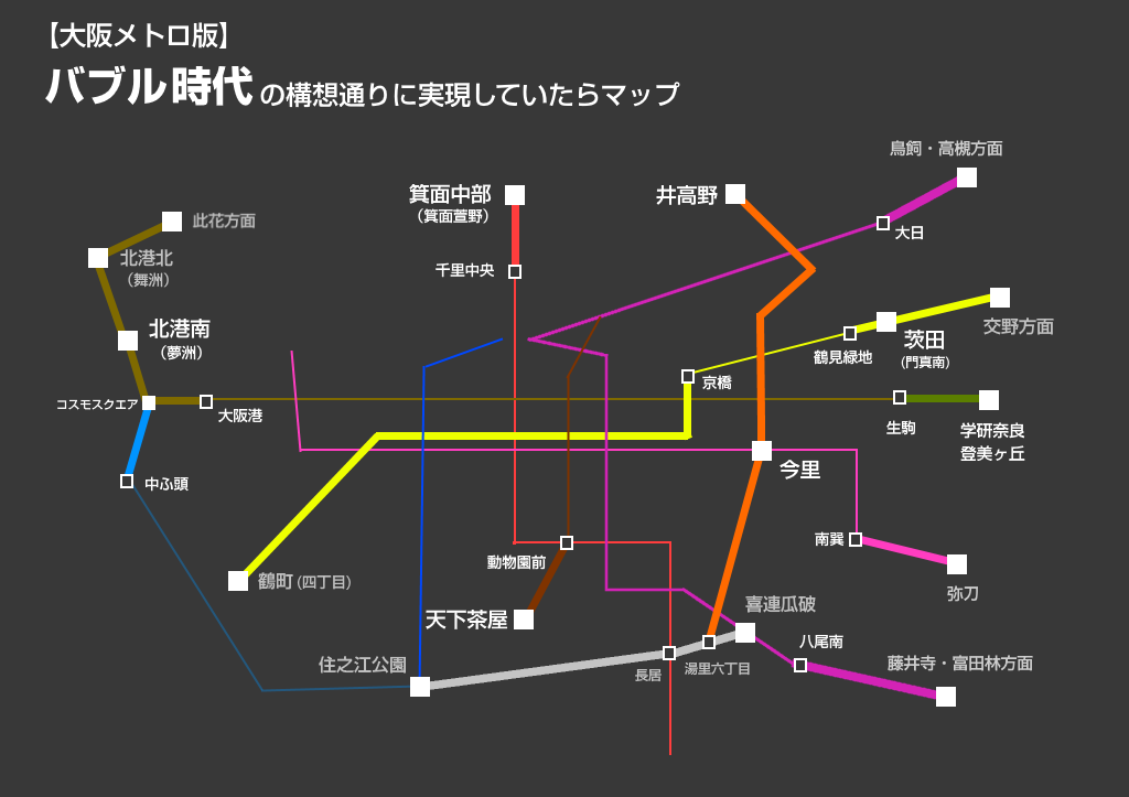 もしバブル時代の構想通りに大阪地下鉄が出来るとこうなる